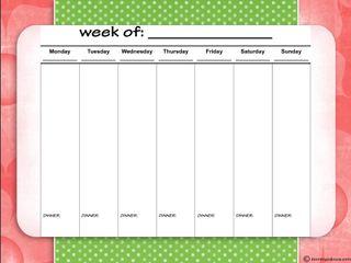 Weekly Planner Printable - Dinner