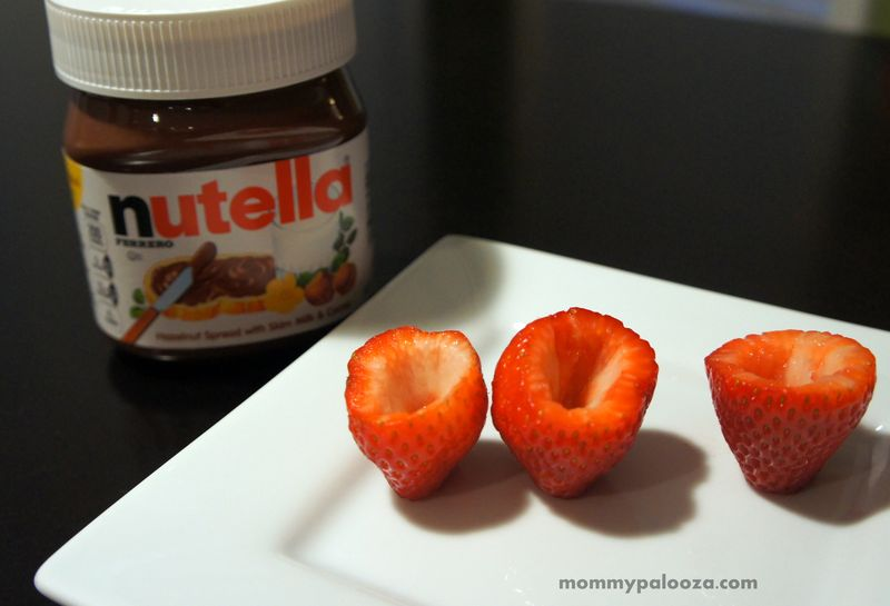 Nutella stuffed strawberries! Easy snacking!