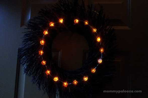 Halloween Wreath with Orange LED Pumpkin Lights