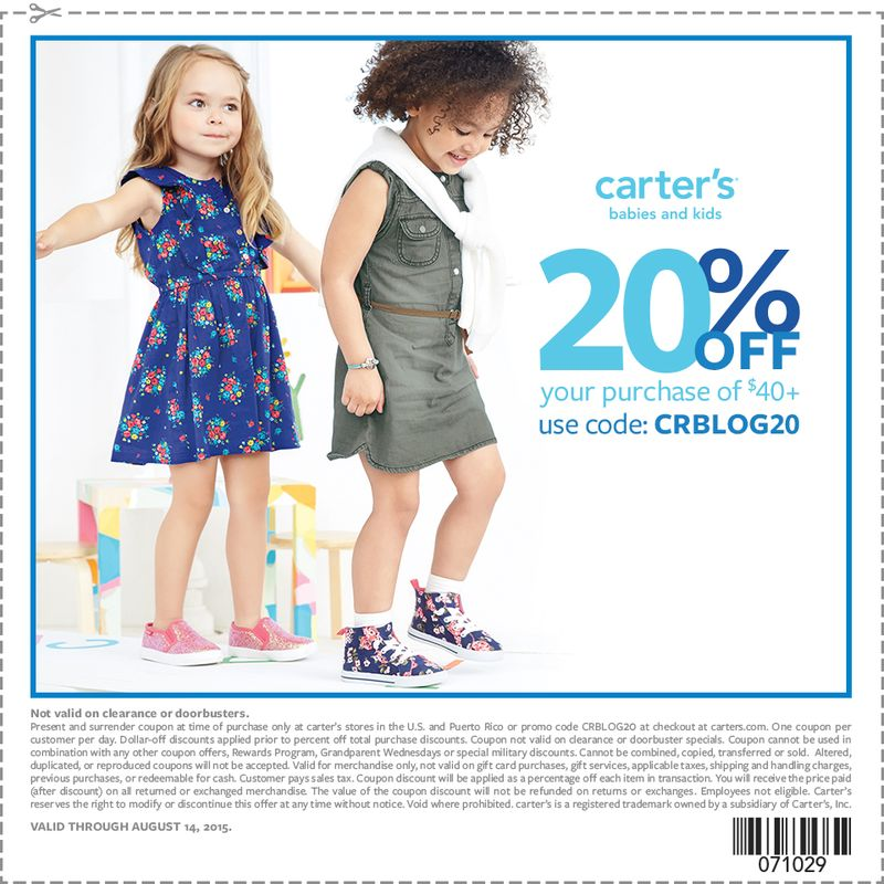 Carter's Save 20% off with $40 purchase with this back to school coupon